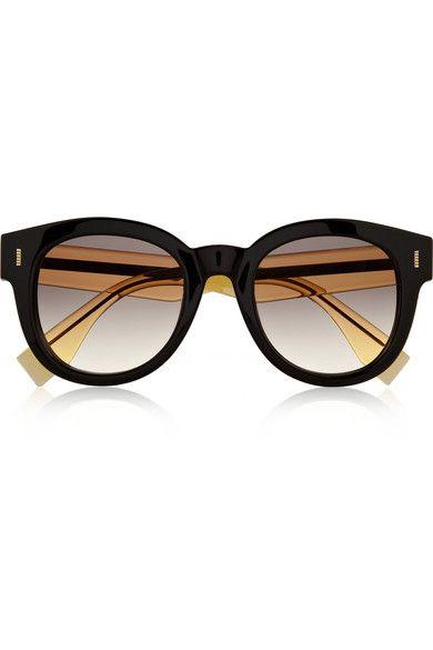 Fendi|Two-tone D-frame acetate sunglasses|NET-A-PORTER.COM