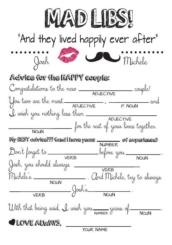 Wedding Mad Libs Diy Printable Style 2 By Ourhobbytoyourhome Gethimbacksimple Wedding Mad Libs Wedding Games Bridal Shower Games
