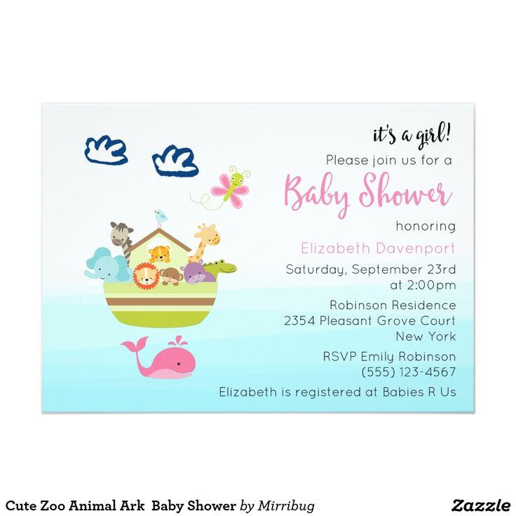 Cute Zoo Animal Ark  Baby Shower Card