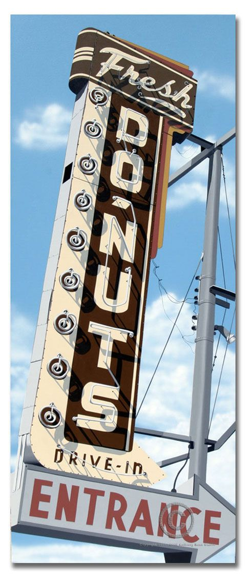 This painting is of a Donut shop on Route 66 near Saint Louis, MO. #neon #signs…