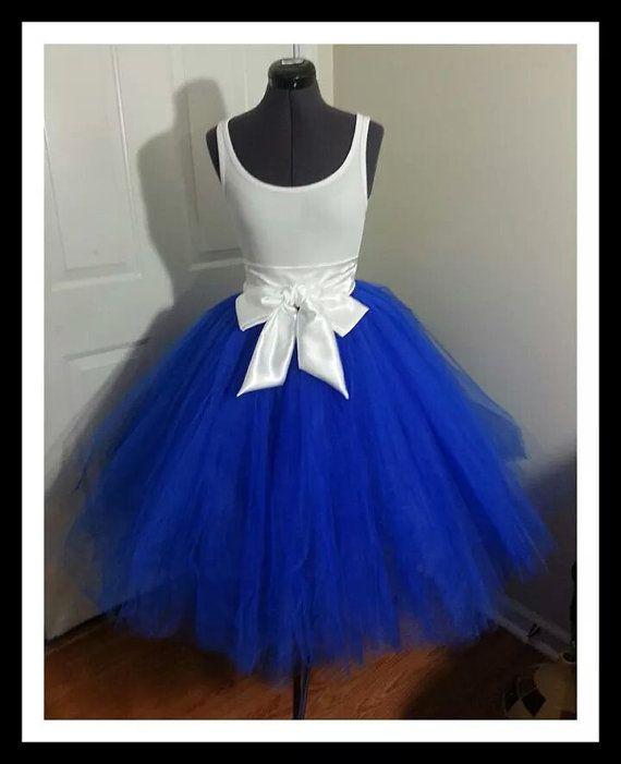 custom made royal blue tulle tutu style skirt for