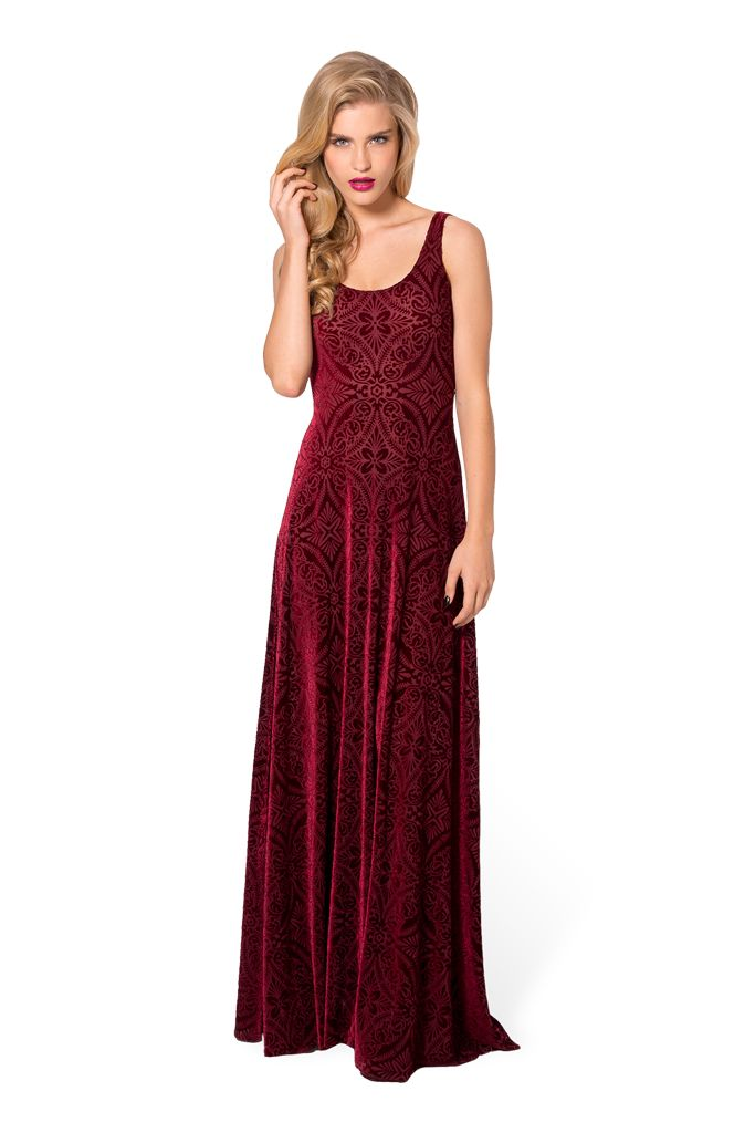Burned Velvet Wine Maxi Dress - $120AUD