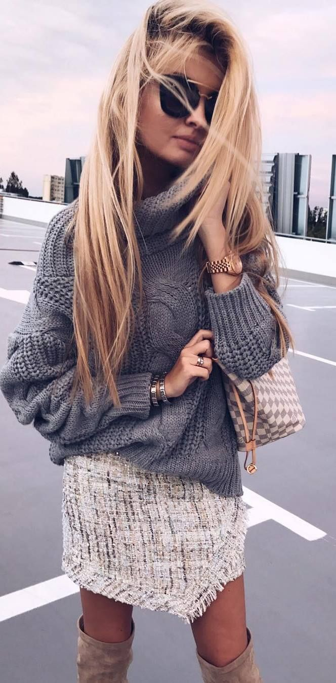 stylish look | grey sweater + bag + skirt + over knee boots