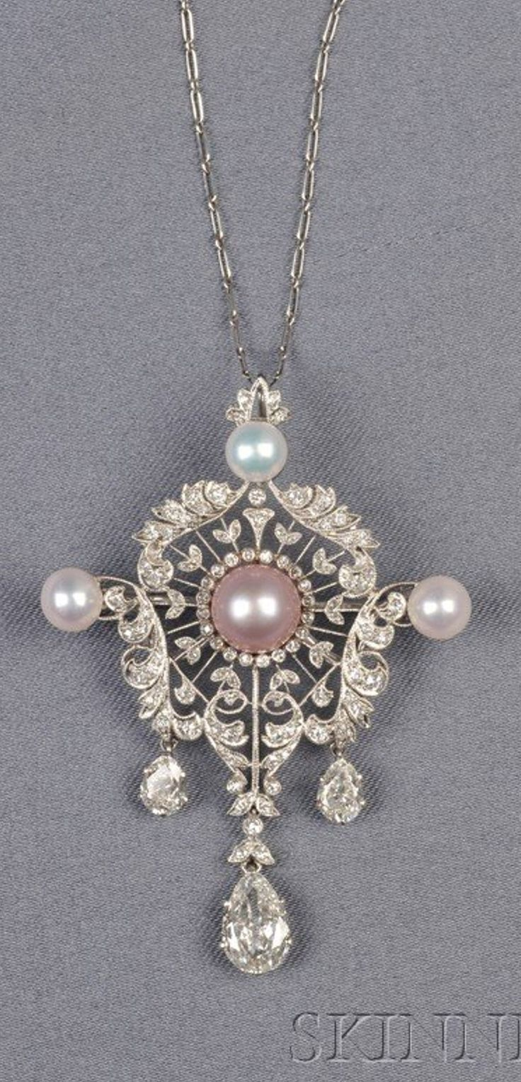 Edwardian Platinum, Colored Pearl, Pearl, and Diamond Pendant.