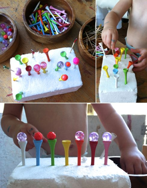 "funky fingers. finger gym. fine motor skills. Invitation to Play – Poking & Balancing... from Meri Cherry ("",)"