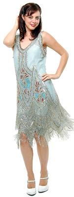 Blue & Silver Embroidered Reproduction 1920's Flapper  Dress  $260.00 Store: Unique Vintage