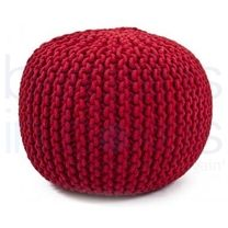 Luxury Scarlet Hand Knitted Pouf.