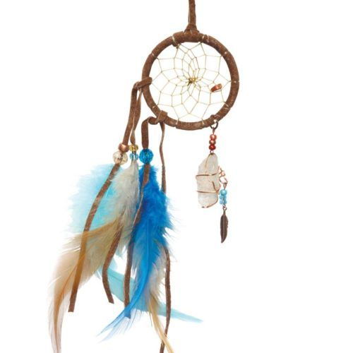 Crystal Dream Catcher is made from leather with glass beads, a large clear crystal, sinew webbing with turquoise feather detail