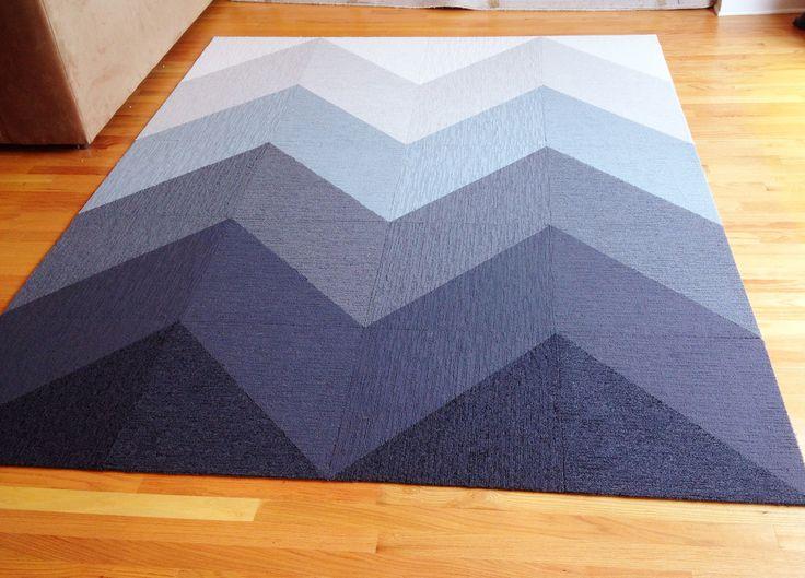 New rug I designed. #FLOR. Carpet tiles. Chevron rug. #LaurInteriors.
