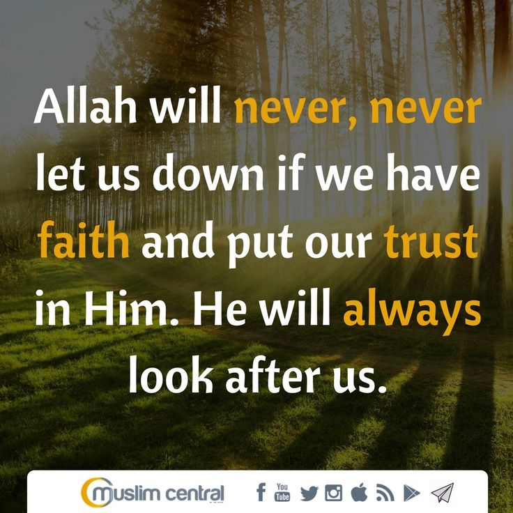 #Allah will never, never let us down if we have #faith and put our trust in Him. He will always look after us. #TrustAllah #MuslimCentral #Islam #Allah #Quran #Muslim #Muhammad
