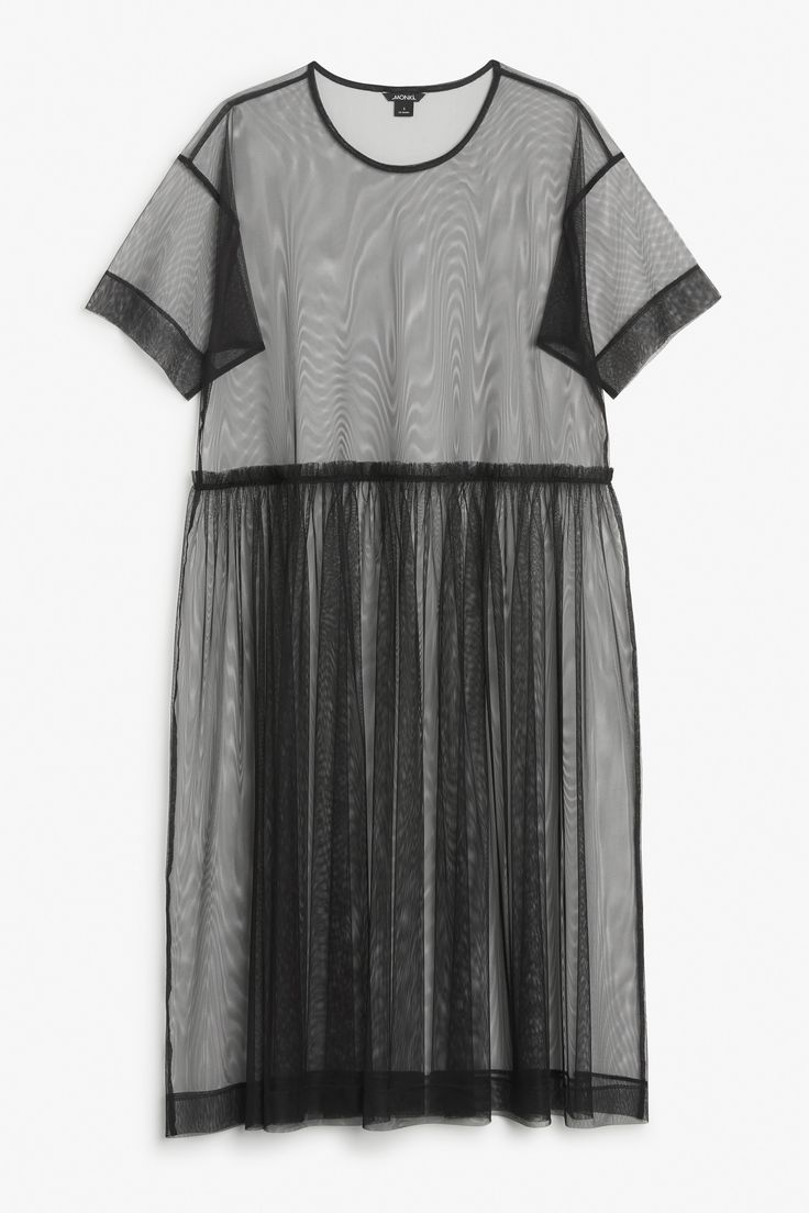 Monki Mesh dress in Black