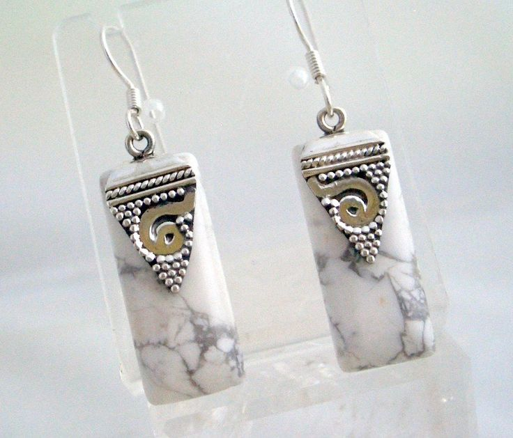 Natural White HOWLITE Rectangular Gemstone, 925 Solid Sterling Silver Egyptian Style Fashion Earrings Jewellery!! by Ameogem on Etsy