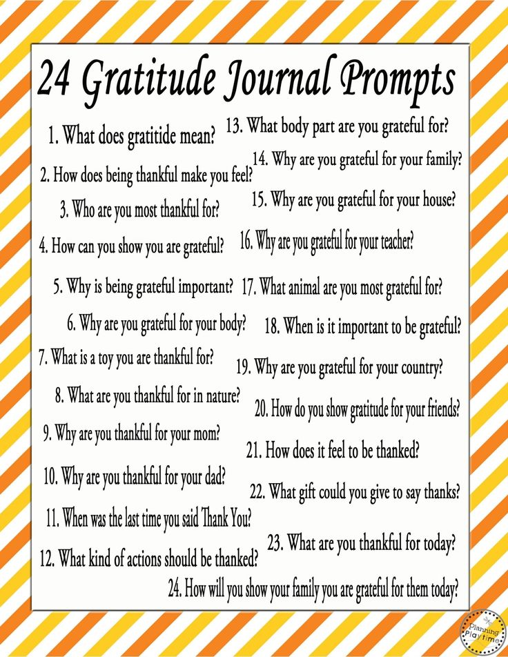 24 FREE Gratitude Journal Writing Prompts for the month of November.