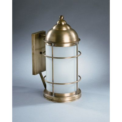 Northeast Lantern Nautical 1 Light Outdoor Wall Lantern Finish: Antique  Brass, Shade Type: