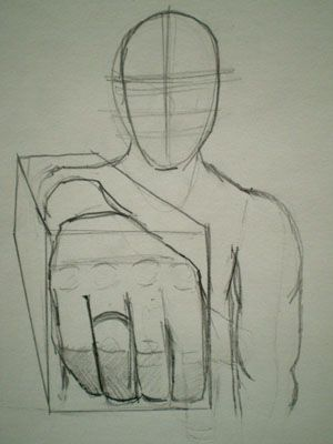#6 This image uses foreshortening. Foreshortening is use when something is turned toward the viewer and it seems smaller. This is shown in the characters arm.