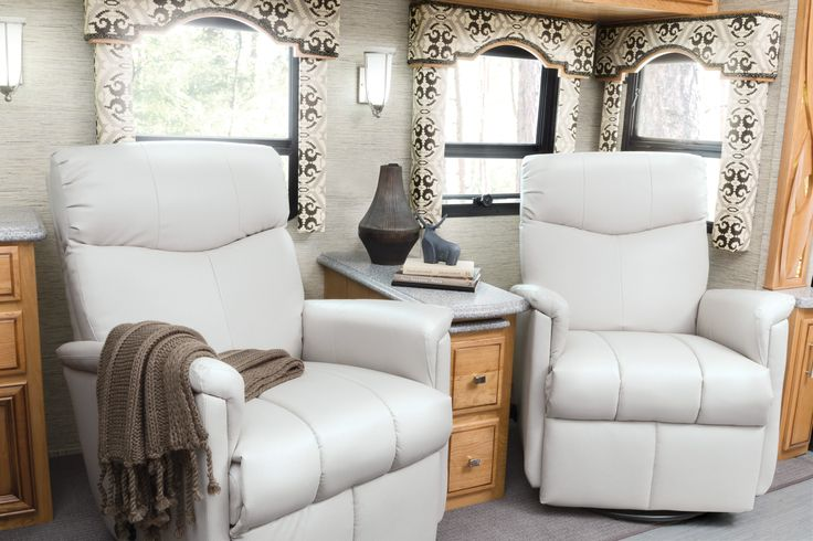 Lambright Luxe Wall Hugger RV Recliners shown in a 2017 Newmar Ventana.