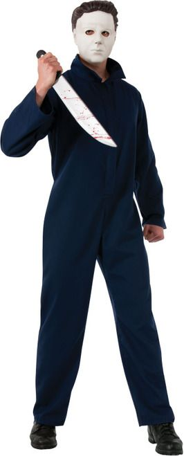 Michael Myers Adult Costume Halloween - This is a licensed horror movie costume of Michael Myers from Halloween. This icon of retro horror movies is the perfect way to get into true Halloween spirit. This 2-piece outfit comes with a jumpsuit and mask. The jumpsuit is dark blue and has a zipper front. The white Michael Myers mask is soft plastic with eyes, nose and mouth holes. #horror #halloween #calgary #yyc #costume #mens
