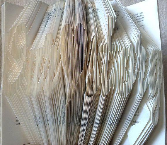 Book folding pattern and FREE Tutorial - Our love story with heart - folded book art, origami, gift #bookfolding #bookfoldingpattern #foldedbookart #booksculpture #papersculpturebook #origamibook #weddinggift #weddinganniversary #birthdaygift #patterntutorial #recycledbook #homedecor  #lovegift #craft #gift by #PatternsStore