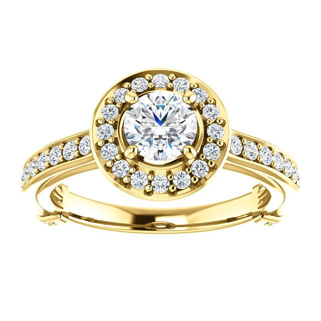 14kt Yellow Gold 5.2mm Center Round Genuine Diamond (Color G-H, Clarity I3) or 16 Halo Diamonds (Color I-J, Clarity I1) and 30 Accent Diamonds (Color I-J, Clarity I1) Engagement Ring...(ST122493:151:P).! Price: $1499.99