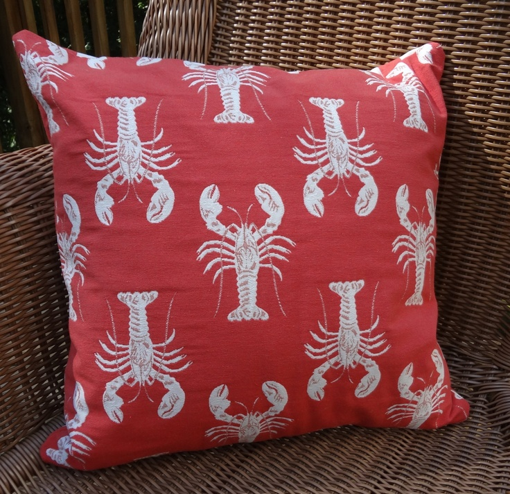 SALE Lobster Print Pillow Cover Red with White Lobster Back Pillow Cover Summer Porch Pillows 18x18. $18.00, via Etsy.