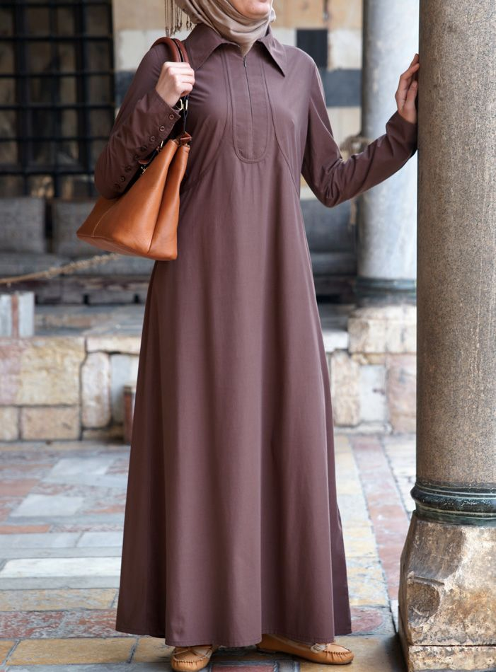 A Classic look in a great fabric! Bamboo Rayon and Cotton Blend. Formentera Abaya from SHUKR Islamic Clothing