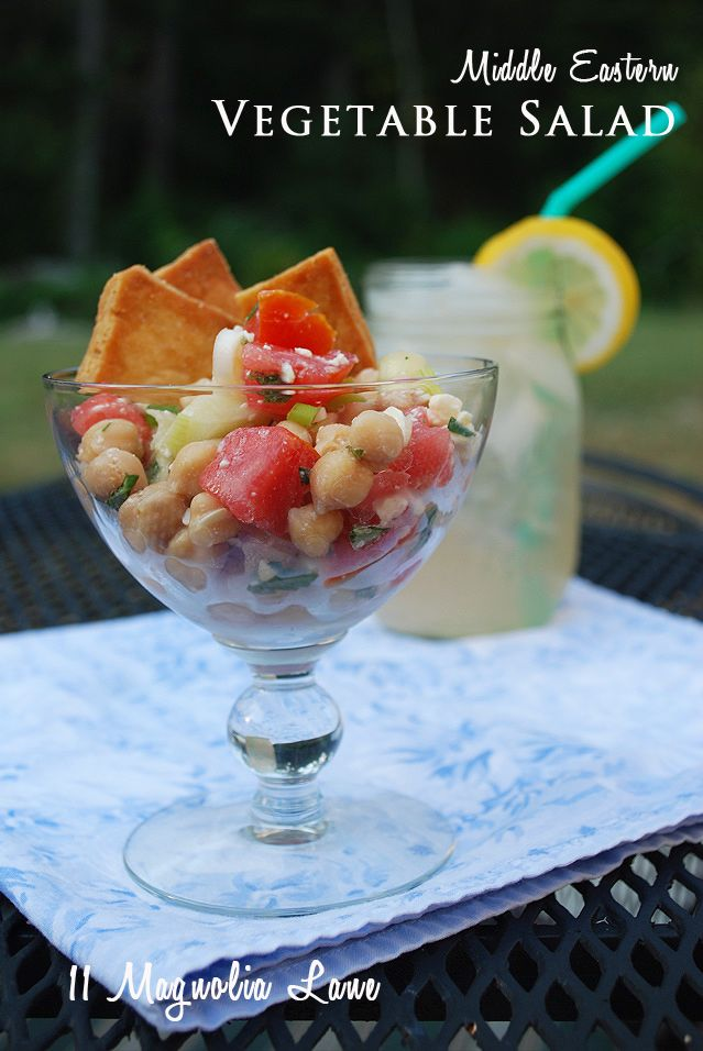 Middle Eastern Vegatable Salad...Tomatoes, Chick Peas, MInt, Cucumber & Parsley from Barefoot Contessa!