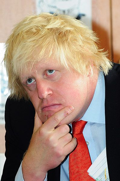 Boris's bad hair days: Boris Johnson at Shaftebury Park Primary School, Battersea,