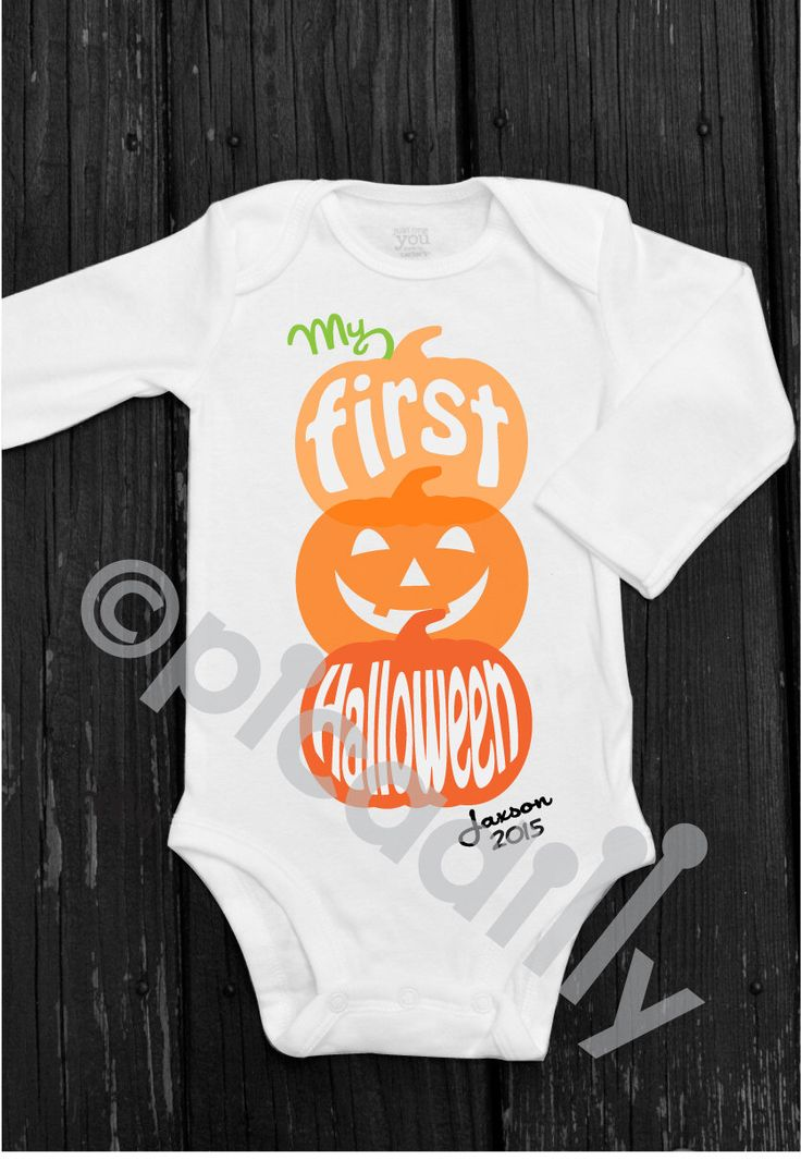 My First HALLOWEEN Personalized Pumpkin Onesie for Baby Boy or Baby Girl for Baby's 1st Halloween in sizes Preemie to 24 months by ShopPicadilly on Etsy https://www.etsy.com/listing/202019359/my-first-halloween-personalized-pumpkin