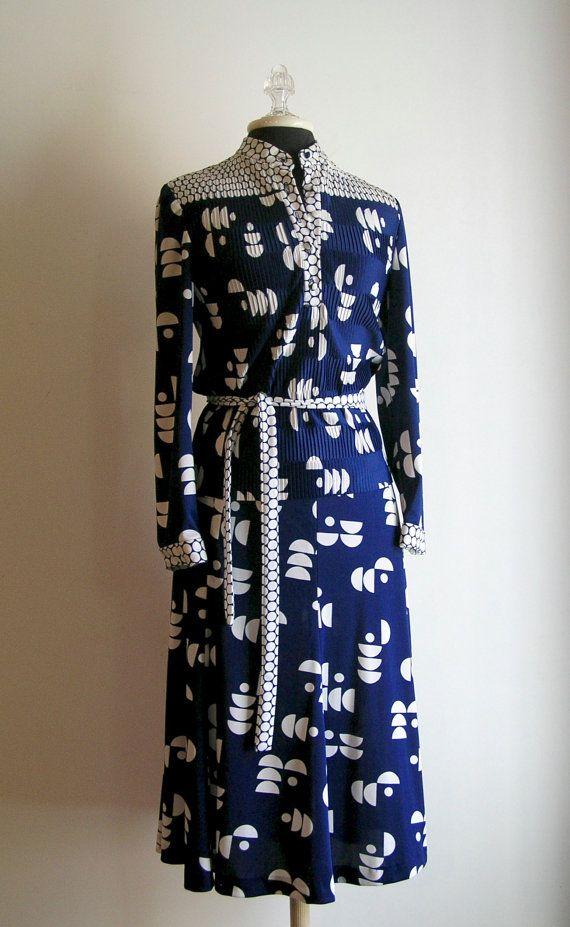 Vintage 2 pc Hal Ferman Navy Blue Pleated by HuntandGatherStyle