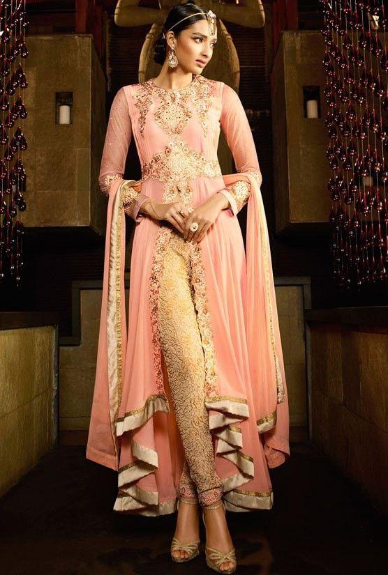 Peach Royal Georgette Salwar Kameez #indianweddingdresses