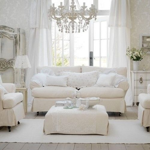 White, soft, romantic - such a pretty family room!