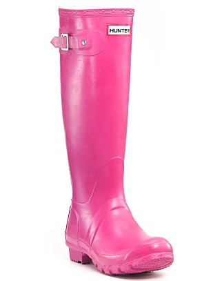 pink hunter rain boots always brighten up rainy days and any rainy day outfit. they keep feet warm and dry from snow too.
