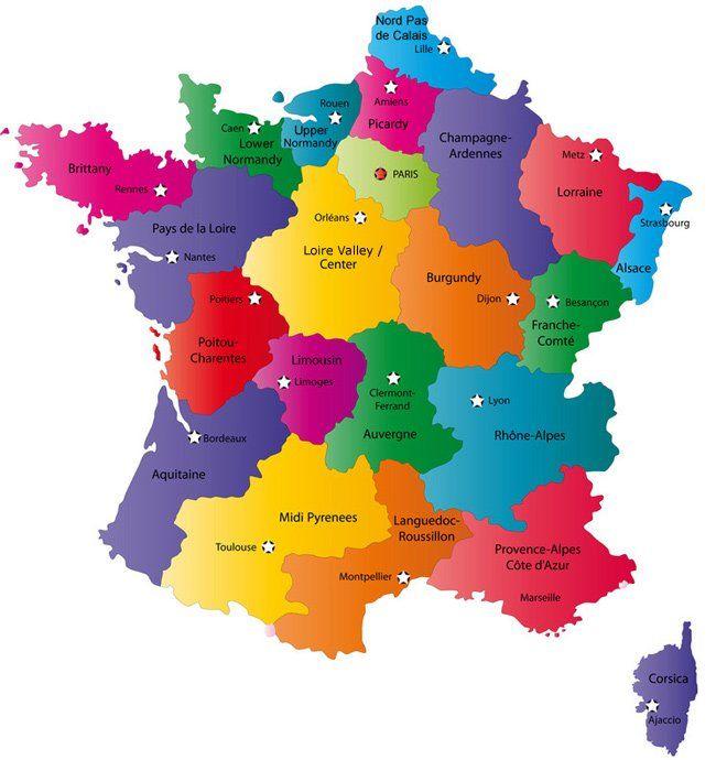 Carte montrant les régions de France