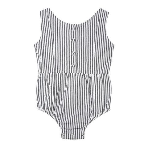 Baby/toddler/little girls playsuit/romper in striped cotton seersucker. The Evie playsuit by Minouche.