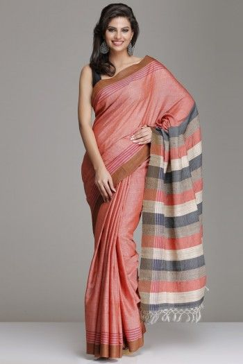 Peach Hand-Woven Tussar Silk Saree With Brown Border And Multicolored Striped Pallu