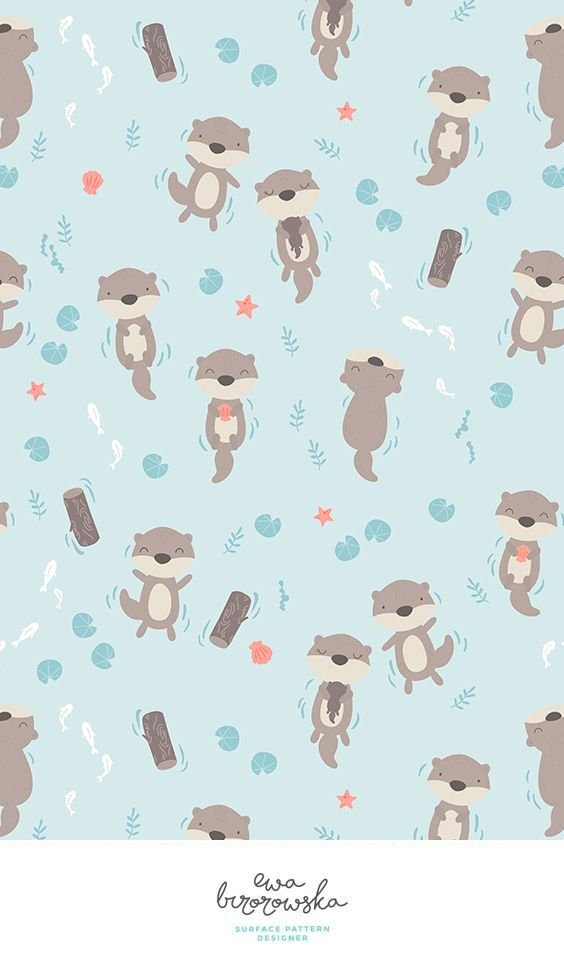 Otters   Unisex Minimal Surface Pattern Design For Children. Textile  Pattern Design With The Otters