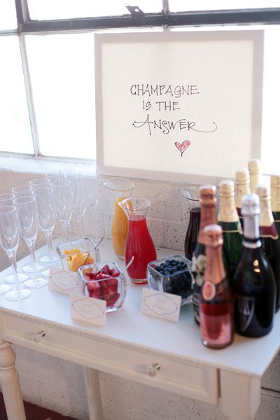 Champagne is always the answer. Cute mimosa bar for getting ready in the morning! #wedding #mimosas #foodanddrink