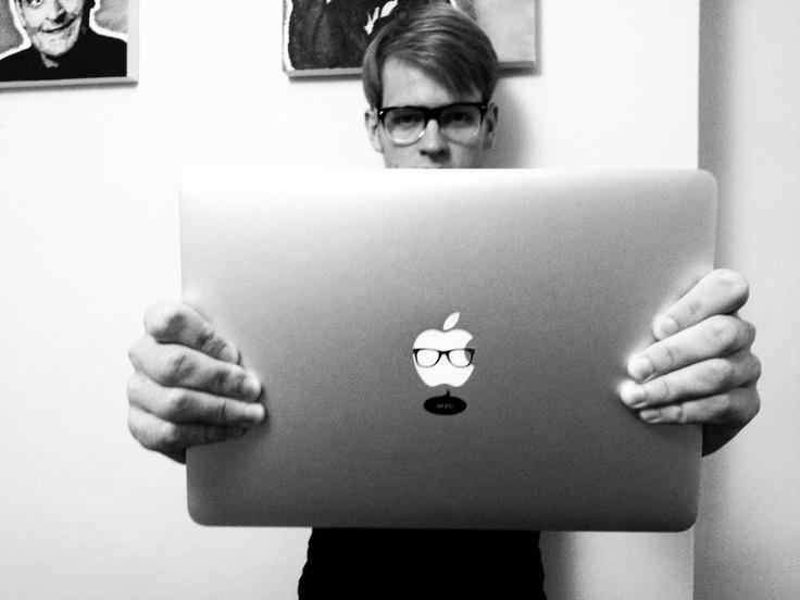 Alex is showing off his Nerdy MacBook | www.macstickrs.com #nerd #macbook #hipster #geek