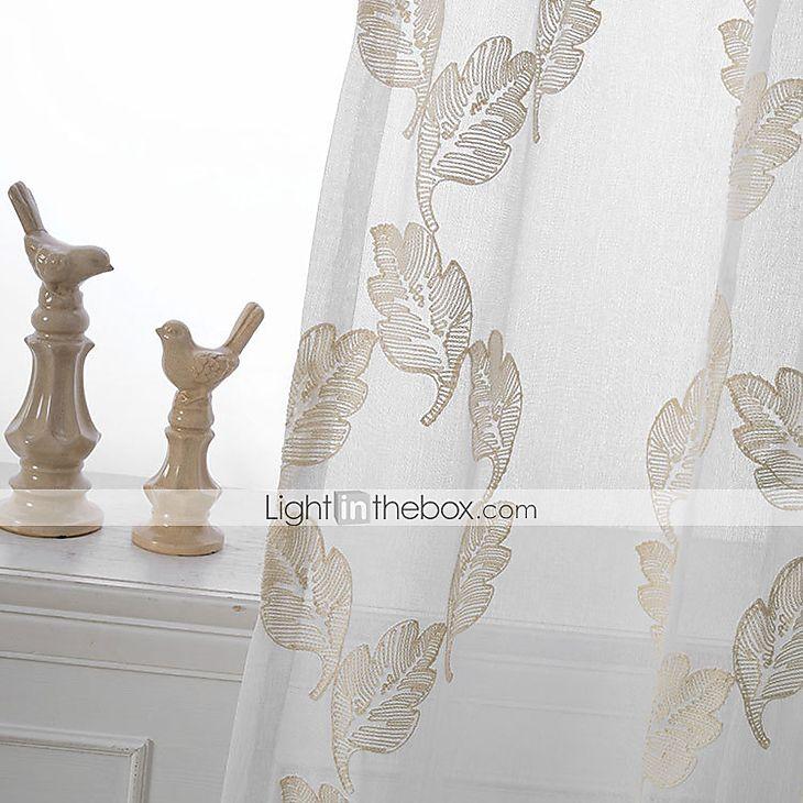 Två paneler Fönster Behandling Rustik Modern Nyklassisistisk , Solid Sovrum Linne/Polyesterblandning Material Skira Gardiner Shades #04568941