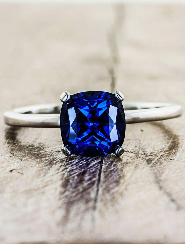 Unique Custom Sapphire Engagement Rings by Ken & Dana Design - Heather top view