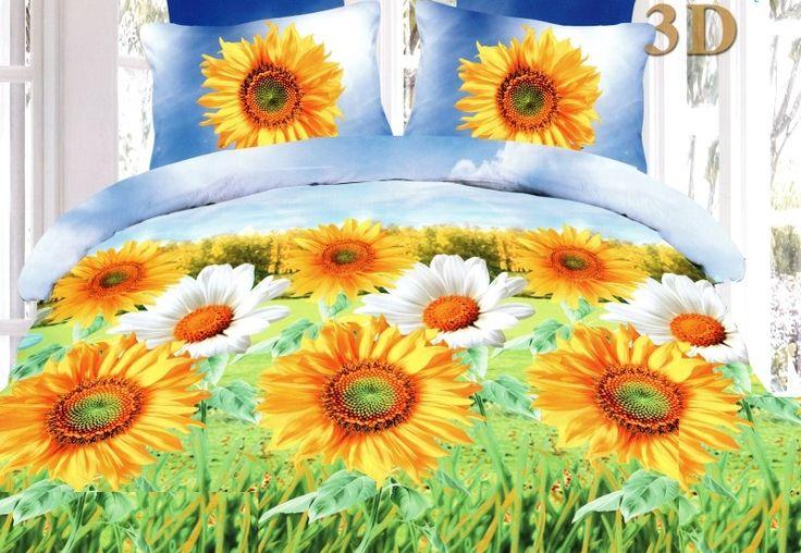 Souprava ložního povlečení v modro zelené barvě se slunečnicemi