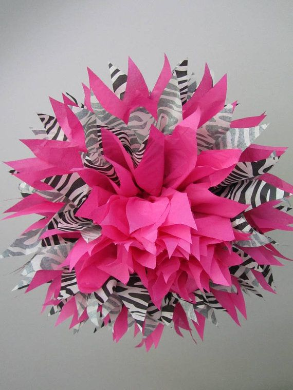 1 Zebra and Hot Pink LARGE Pom --- OR Pick Your Color To Go With Zebra