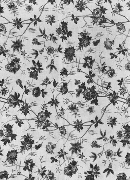 Dress fabric. British. 1775-1785. Block-printed cotton. # CIRC.2-1956.