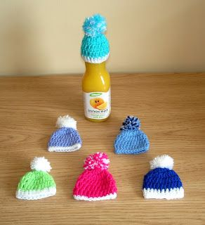 marianna's lazy daisy days: AGE UK ~ Innocent Smoothie Hats - basic crochet ski bobble hat - free pattern instructions at http://mariannaslazydaisydays.blogspot.co.uk/2013/07/age-uk-innocent-smoothie-hats.html