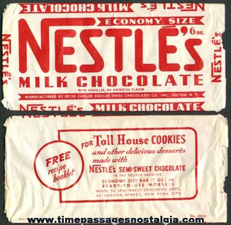 Large Old Nestle's Milk Chocolate Candy Bar Wrapper