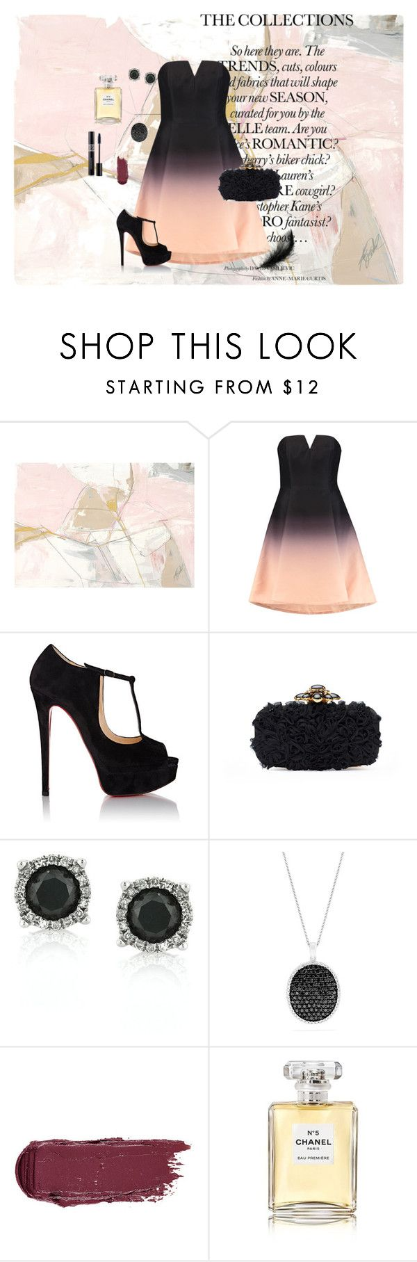 """""""New collection"""" by elsouu ❤ liked on Polyvore featuring Halston Heritage, Christian Louboutin, Oscar de la Renta, Mark Broumand, Effy Jewelry, Chanel and Christian Dior"""