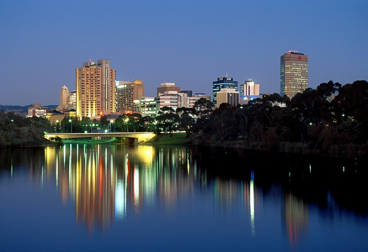 Adelaide City skyline at night.