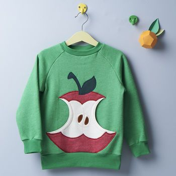 Bio Kinderpullover mit Apfel-Bauchtasche