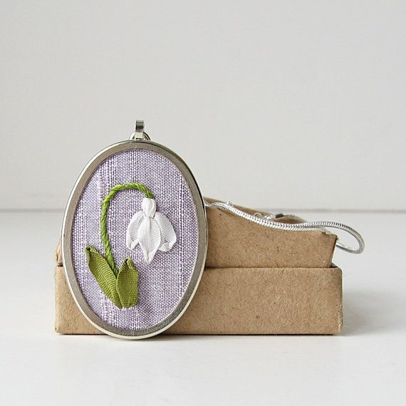 Snowdrop Necklace. embroidered silk ribbon