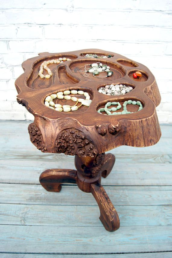 Live edge jewelry stand Earring necklaces bracelets rings